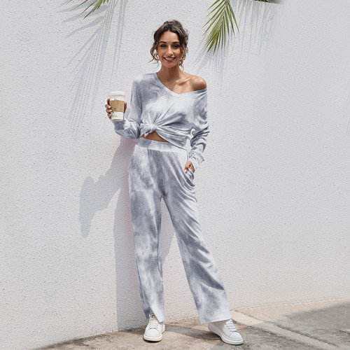 Gray Casual fashion tie-dye home two-piece suit