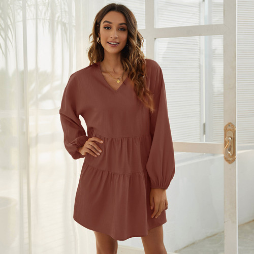 Red Loose V-neck simple casual long-sleeved dress