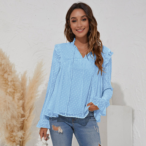 Bule V-neck jacquard solid color long-sleeved ruffled chiffon shirt