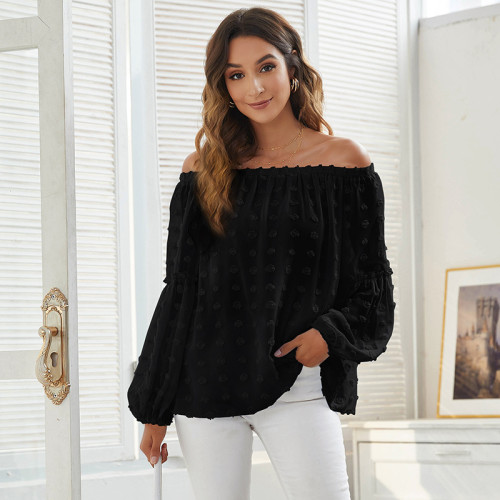 Black One word collar casual jacquard solid color long-sleeved chiffon shirt