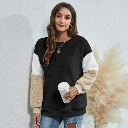 Black Women's round neck three-color stitching thick casual sweater