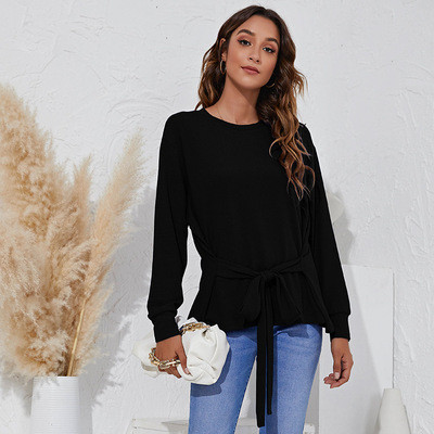 Round neck simple fashion tie solid color T-shirt