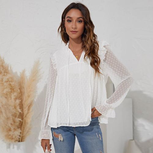 V-neck jacquard solid color long-sleeved ruffled chiffon shirt