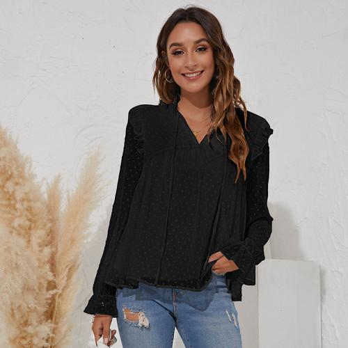 Black V-neck jacquard solid color long-sleeved ruffled chiffon shirt