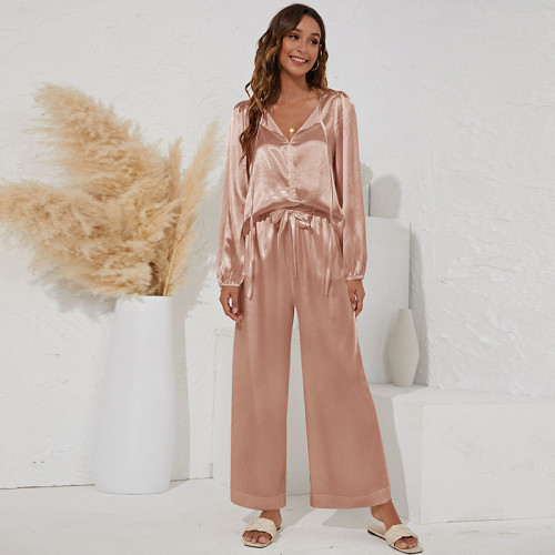 Pink Two-piece V-neck tie casual loose home suit