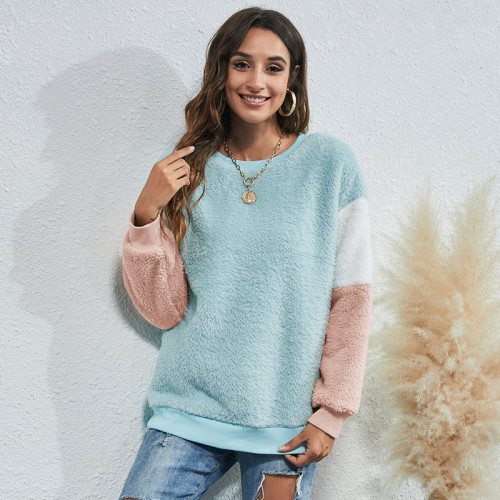 Bule Women's round neck three-color stitching thick casual sweater