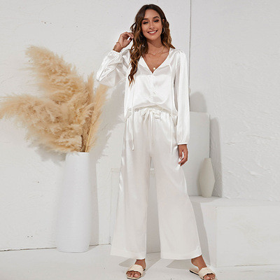 Two-piece V-neck tie casual loose home suit