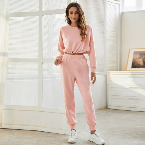 Pink Sports and leisure two-piece short sports suit