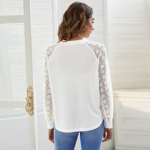 White Round neck lace stitching waffle long sleeve top