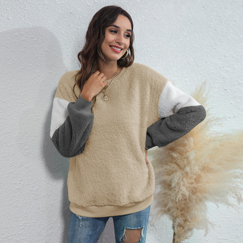 Khaki Women's round neck three-color stitching thick casual sweater
