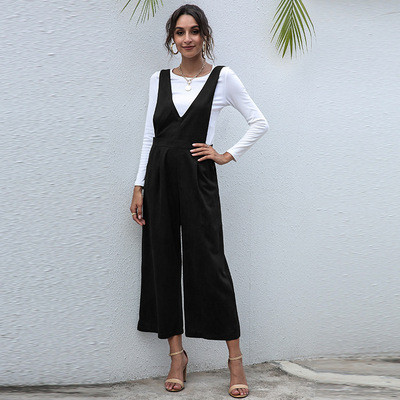 V-neck European and American women's solid color high waist suspender jumpsuit