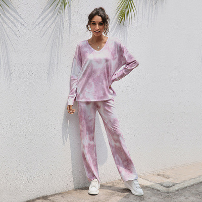 Casual fashion tie-dye home two-piece suit