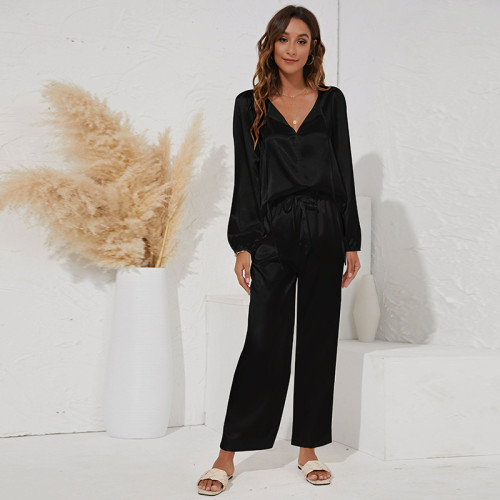 Black Two-piece V-neck tie casual loose home suit
