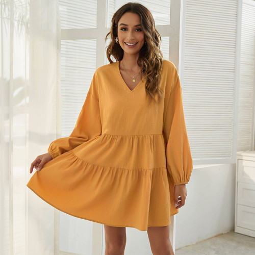 Yellow Loose V-neck simple casual long-sleeved dress
