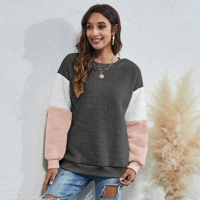 Women's round neck three-color stitching thick casual sweater