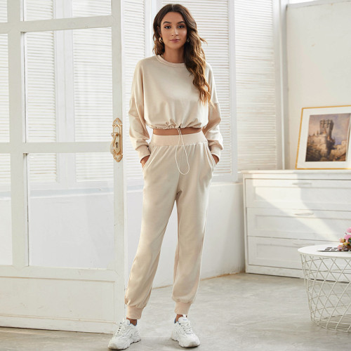 Khaki Sports and leisure two-piece short sports suit