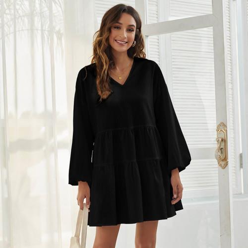 Black Loose V-neck simple casual long-sleeved dress