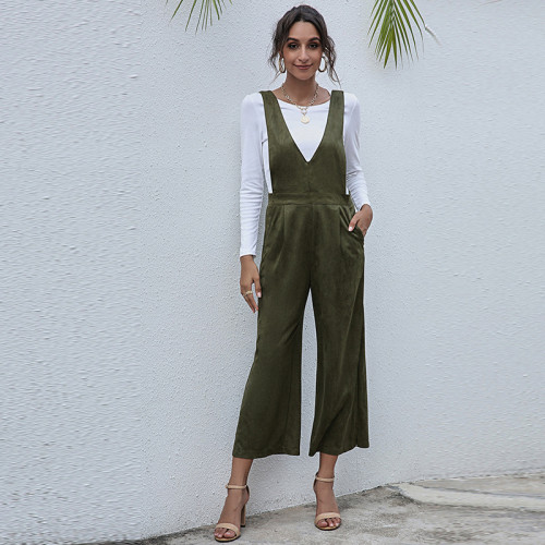 Army green V-neck European and American women's solid color high waist suspender jumpsuit