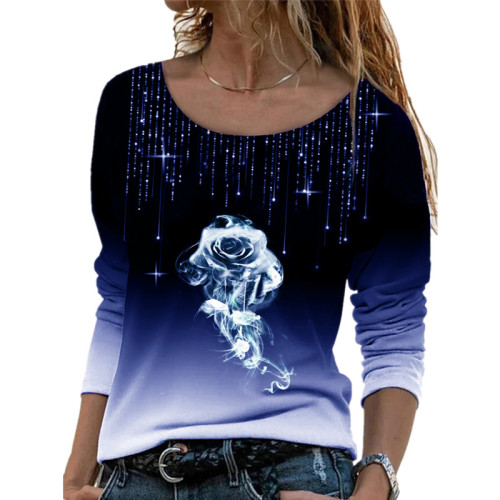 Dark bule Long sleeve loose round neck casual pullover rose print T-shirt