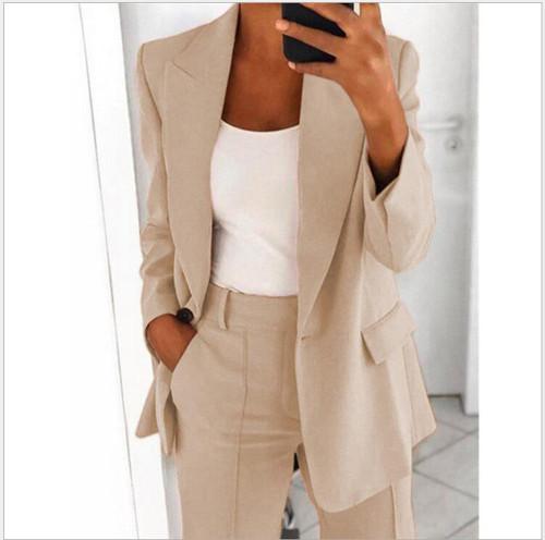 Apricot Fashion lapel slim cardigan temperament suit jacket women