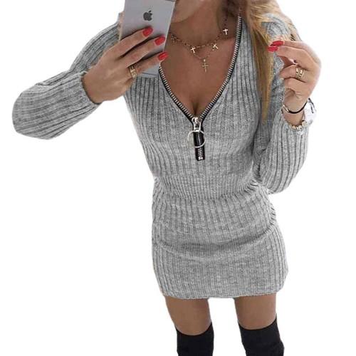 Gray Women's zipper waist long-sleeved knitted bag hip dress