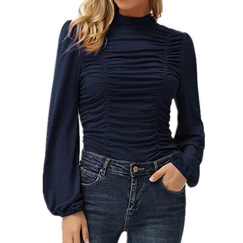 Dark bule Solid color long lantern sleeves high neck pleated slim T-shirt
