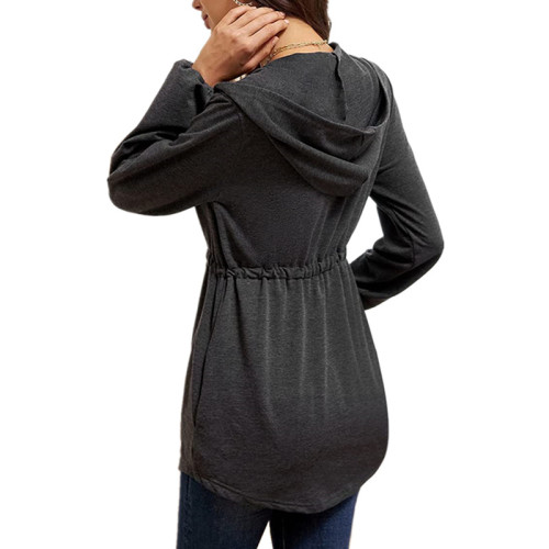 Dark gray Solid color casual zipper waisted lantern sleeve loose hooded cardigan jacket