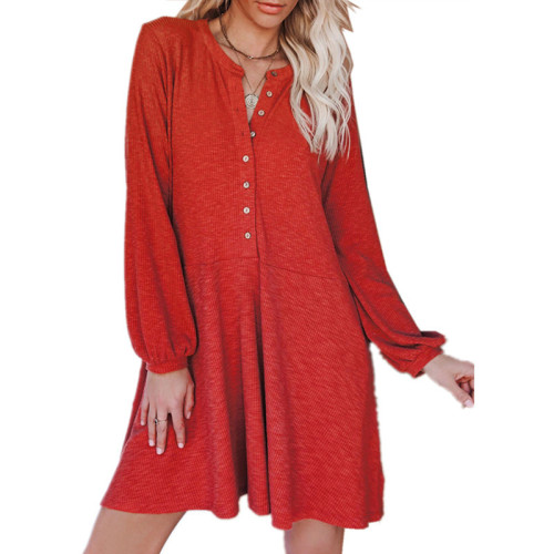 Red Solid color V-neck long-sleeved button casual dress