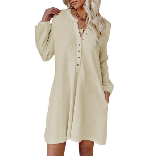 Apricot Solid color V-neck long-sleeved button casual dress
