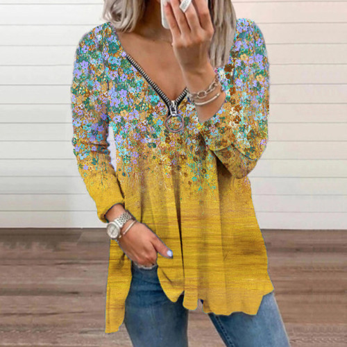 Yellow Leopard print small floral V-neck zipper long-sleeved top T-shirt
