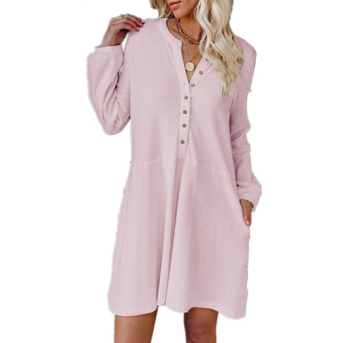 Pink Solid color V-neck long-sleeved button casual dress