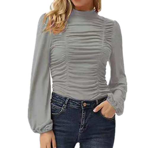 Gray Solid color long lantern sleeves high neck pleated slim T-shirt