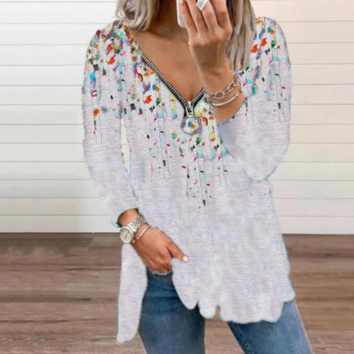 White Leopard print small floral V-neck zipper long-sleeved top T-shirt