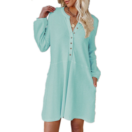 Sky bule Solid color V-neck long-sleeved button casual dress