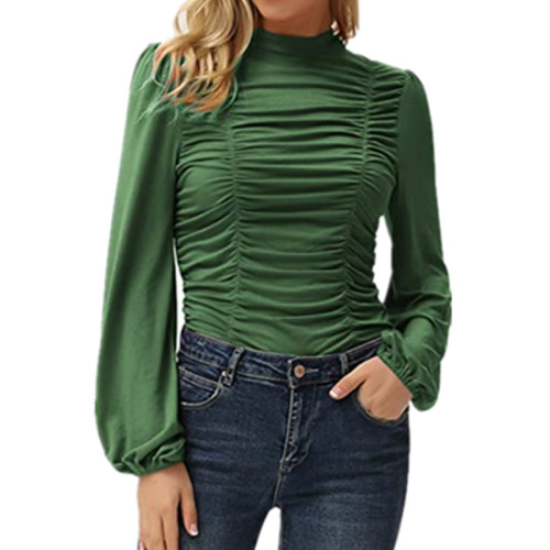 Army green Solid color long lantern sleeves high neck pleated slim T-shirt