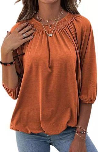 Orange Solid color loose round neck 3/4 sleeve T-shirt