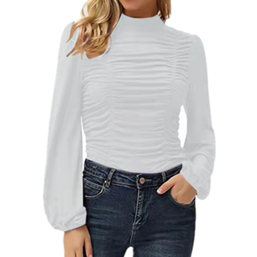 White Solid color long lantern sleeves high neck pleated slim T-shirt