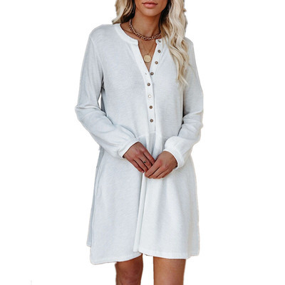 Solid color V-neck long-sleeved button casual dress