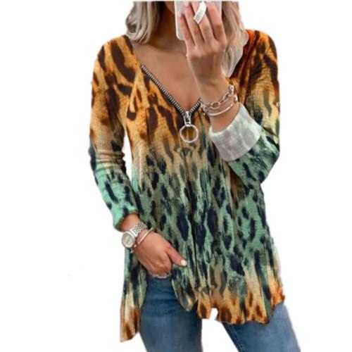 Copy Leopard print small floral V-neck zipper long-sleeved top T-shirt