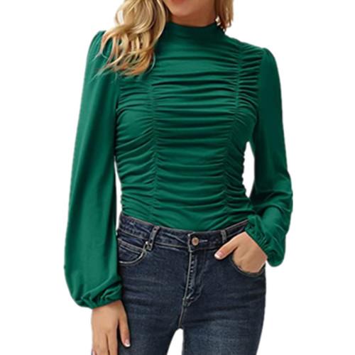 Dark green Solid color long lantern sleeves high neck pleated slim T-shirt