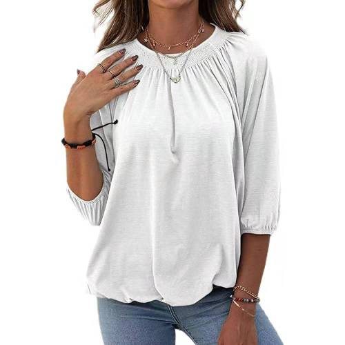 White Solid color loose round neck 3/4 sleeve T-shirt