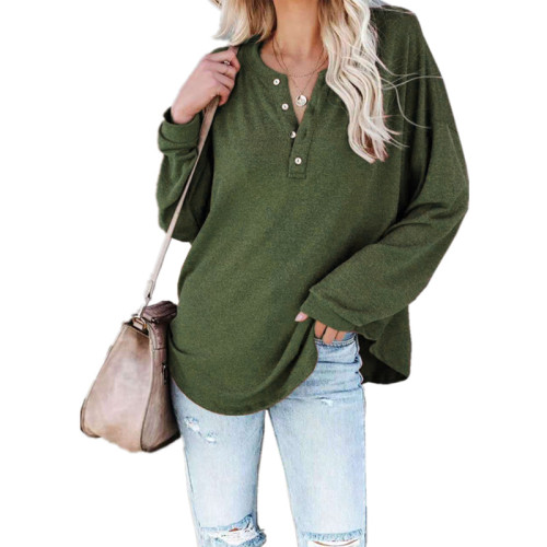 Army green Solid color long-sleeved round neck pullover button top T-shirt