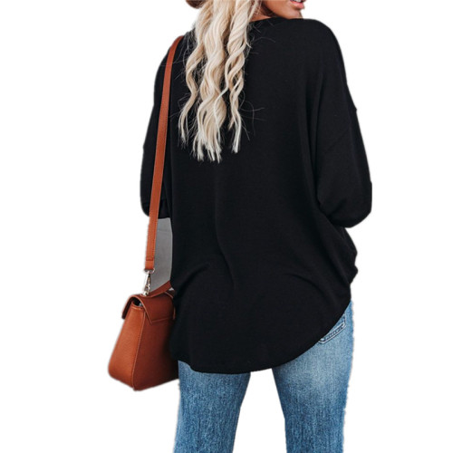 Solid color long-sleeved round neck pullover button top T-shirt