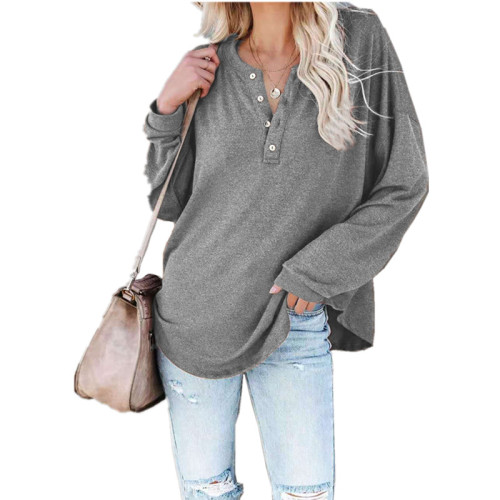 Gray Solid color long-sleeved round neck pullover button top T-shirt