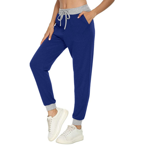 Bule Casual sports all-match solid color pocket stitching drawstring trousers