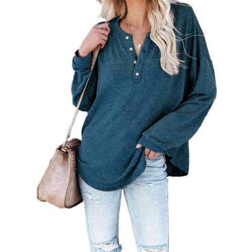 Bule Solid color long-sleeved round neck pullover button top T-shirt