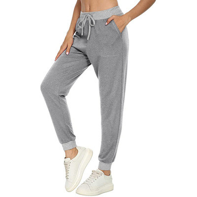 Casual sports all-match solid color pocket stitching drawstring trousers