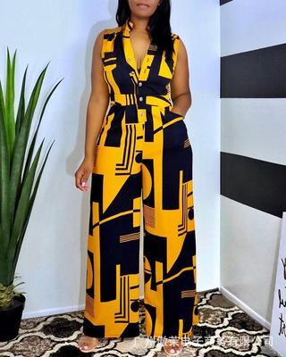 Yellow Casual V-neck sleeveless contrast button wide-leg jumpsuit
