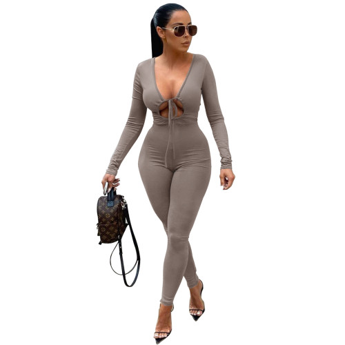 Tight-fitting commuter lace-up long-sleeved jumpsuit