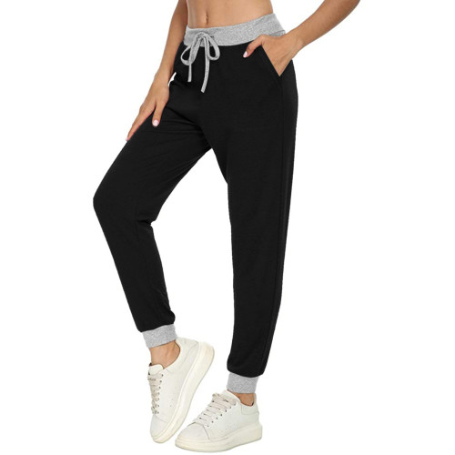 Black Casual sports all-match solid color pocket stitching drawstring trousers